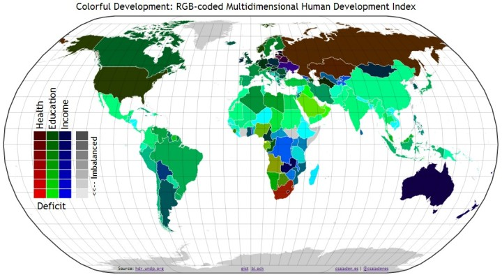 Colorful Development - HDI RGB World Map