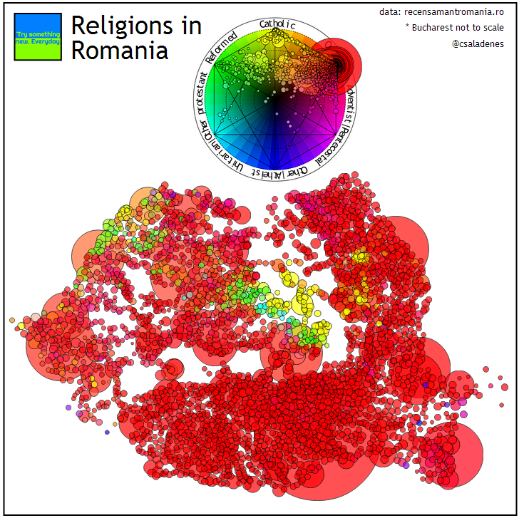 Religions of Romania Colormap