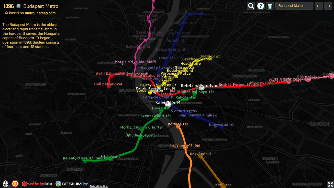 The Budapest Metro and the HÉV suburban rail network, using live OSM data curated by maps.me