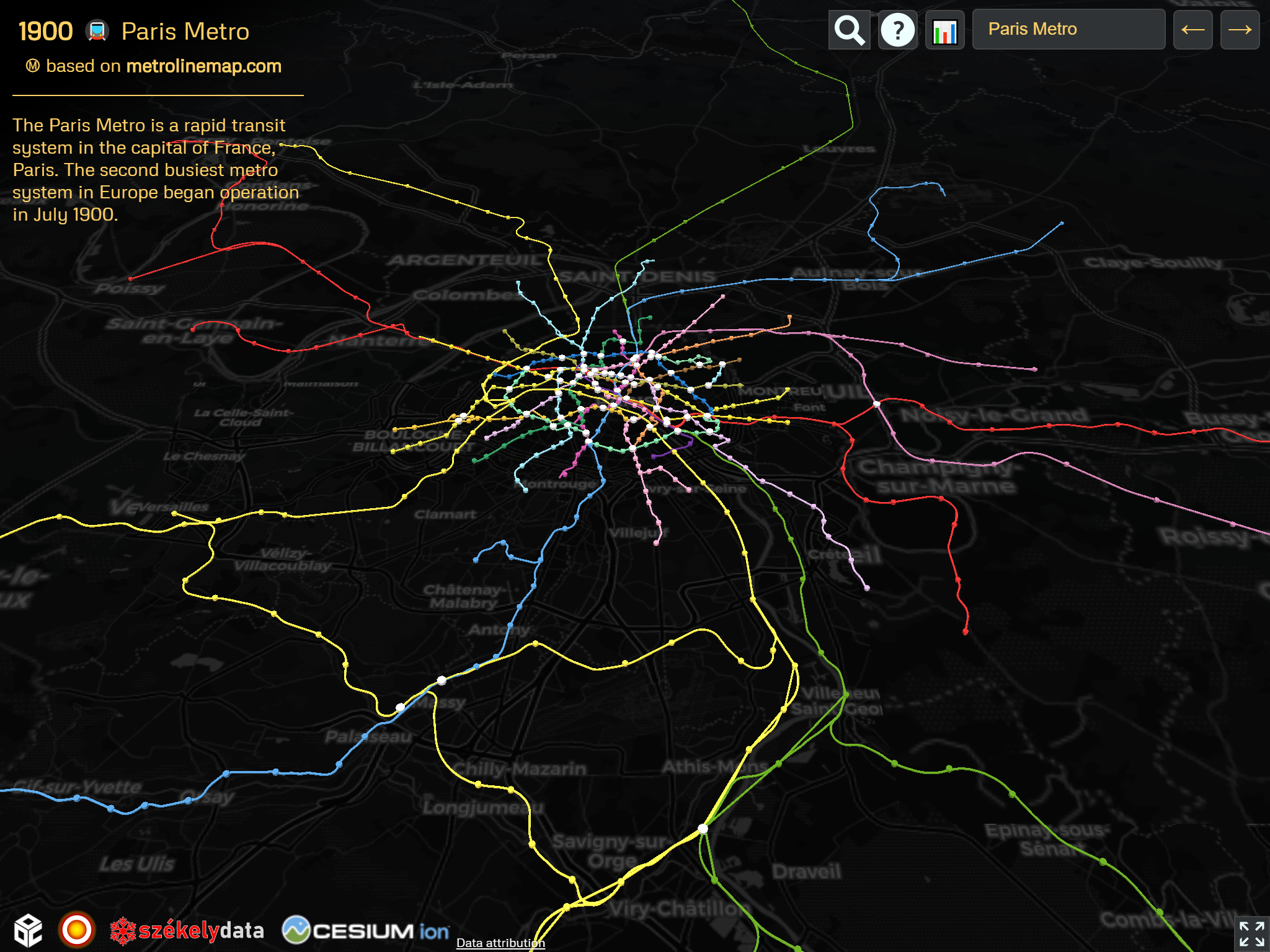 The Paris Metro + RER spaghetti on the OSM version of the 🚇 Metrocyclopaedia