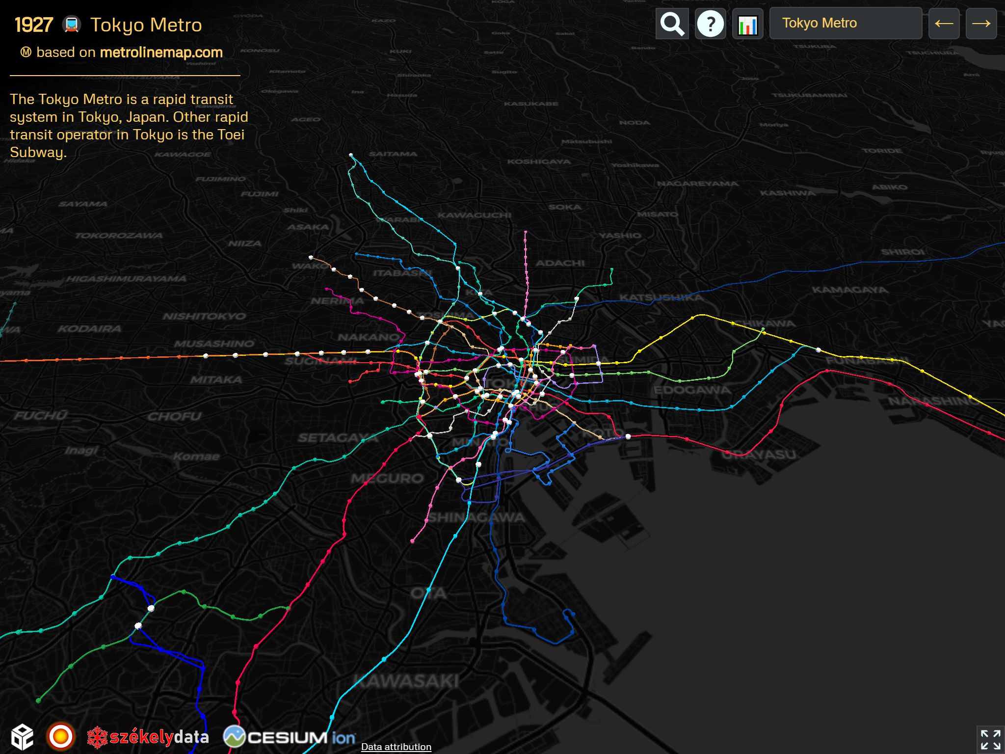 Tokyo Bay extensive network on the OSM version of the 🚇 Metrocyclopaedia